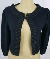 Nanette Lepore Crop Cardigan Sweater Medium Black Gold Metallic 3/4 Sleeve NWT