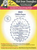 Child's Prayer Aunt Martha's Hot Iron Embroidery Transfer #3943