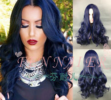 Women's new long Ombre Dark Blue Top HEAT OK Dark Root Curly Navy halve Wigs