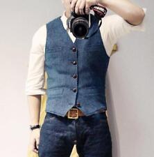 Blue US L Men's Vest Wool Blend Business Formal Waistcoat Single Breasted Jin20