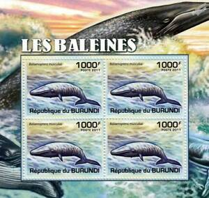 WHALES Blue Whale Stamp Sheet #3 of 5 (2011 Burundi)