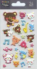 Stickers 3d pour ordinateurs ou pour consoles Oursons  planche 14 cm x 7,5 cm