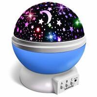 Veilleuse Enfant Lampe de Chevet Projecteur 360° Rotation Étoiles Bleu