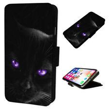 Black Cat Pretty Purple - Flip Phone Case Wallet Cover Fits Iphone 5 6 7 8 X 11