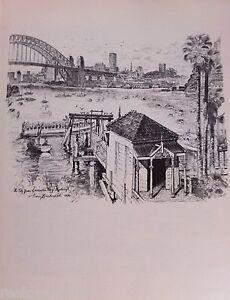 Vintage Original Cedric Emanuel Print 1970 - The City from Lavender Bay, Sydney