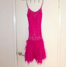 Women's Costume Halloween Dress Vintage Flapper Inspire Beaded Pink Interlude Xs