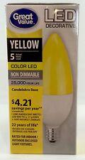 LED YELLOW Color E12 Candelabra Base TCP GREAT VALUE 5w Decorative Light Bulb