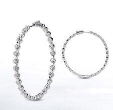 Hoop Earring 70 x 0.08 ct 1.75 inch 5.59 carat Round cut Diamond 14k White Gold