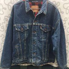 Vintage Levis Mens Size XL Blue Red Buffalo Flannel Lined Jacket Jean Denim
