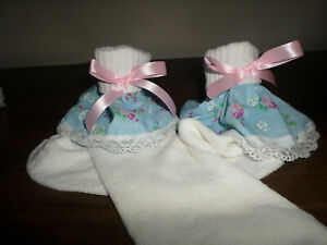 ADULT BABY SISSY WHITE ANKLE SOCKS BLUE FLORAL FRILLY LACE TRIM SATIN BOWS  8-11