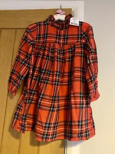 BNWT Next Girls Beautiful Red Tartan Check Christmas Dress Age 4 Years 🎄🎅🏻