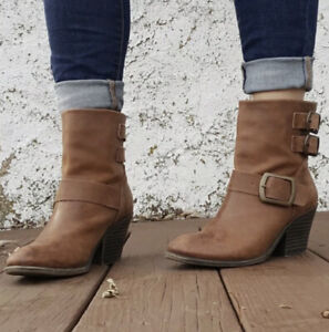 LUCKY BRAND TOMMIE BOURBON BROWN LEATHER BUCKLE ANKLE BOOTIE BOOTS - SZ 10