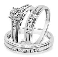 10K White Gold Over 1.5CT VVS1 Diamond Engagement & Wedding Ring All Size