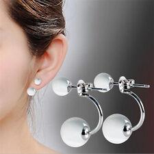 Women Girls Double Sided Crystal Two Ball Beads Round Cat Eye Ear Stud Earrings
