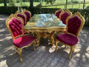 Italian Baroque Style Dining Table with 6 Dining chairs - Red and Gold