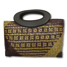 Handwoven Straw Sedge Grass Tote Purse Bag, Vintage Street Beach Picnic H101