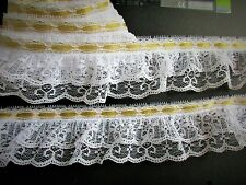 Amazing ruffled lace trim with ribbon  - selling by the yard