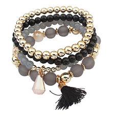Women Boho Multilayer Natural Stone Crystal Charms Beaded Bracelet Bangle 6A