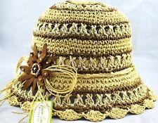 """2.5"""" Brim Summer Flower Bucket Hat Woman's Cloche-tan Brown"""