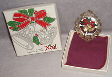 1980 Lunt Sterling Silver Frame 3rd Issue Enamel Noel Bells Christnas Ornament