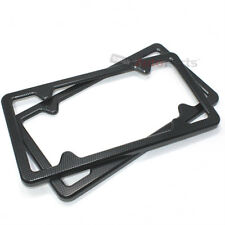 2 Black Carbon Fiber Custom License Plate Tag Snap Fit Frames for Auto-Car-Truck