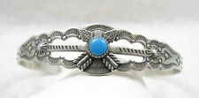 Vntage Navajo Signed JP Popovitch Turquoise Crossed Arrow Sterling Cuff Bracelet