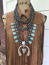 Western Natural Stone Chunky Layered Navajo INSPIRED Squash Blossom Necklaces