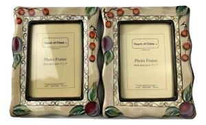 Set of 2 Touch of class photo frame apple with leaves print Size 5x7
