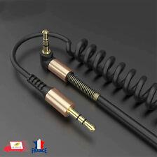 AUX Jack 3.5mm Câble Audio Jack à angle droit de 90 degrés Enroulé Mâle/Mâle