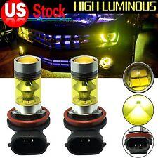 2x 4300K Yellow H11 H8 Fog Lights SAMSUNG 2323 LED High Power 100W Driving Bulbs