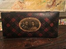Scottish Tartanware Box Advertising 1870 Sewing Ashworth's Thread Figural