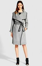 $795 VINCE LEATHER TRIM DRAPED FRONT WOOL COAT JACKET NEW NWT SIZE XS