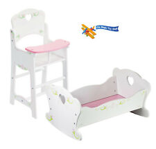 Dolls Wooden High Chair and dolls Rocking Cradle Cot Bed Crib Doll Furniture Set