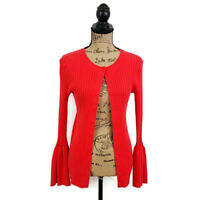 Cabi Womens sz S Red Ribbed Knit Trumpet Cardigan Long Bell Sleeve Button Front
