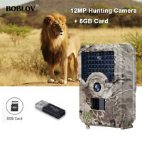 BOBLOV 12MP 1080P Trail Hunting Camera + 8GB Card 49PCS IR LEDS Scouting Camera