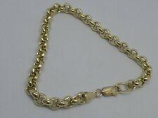 9ct YELLOW GOLD  BELCHER LINK BRACELET FULL ENGLISH HALLMARKS 19.5 grams