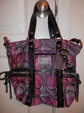 Coach poppy Signature C Pink Purple Tartan Plaid Spotlight Tote 14371 *Pristine*