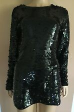 GROOVY Cathy Hardwick Black Wool Sequin Dress