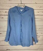 J.Jill Denim Women's S Small Blue 100% Linen Button Long Sleeve Top Shirt Blouse