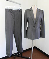 Tahari ASL Levine Static Gray Printed Pantsuit Suit Set Size 6 One Button Blazer