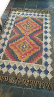 Jute with Wool Kilim Taupe Blue Ochre 90x150cm Quality Hand Made Reversible rug
