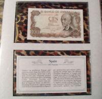 *Most Treasured Banknotes Spain 100 Pesetas 1970 P 152 UNC Prefix 2E