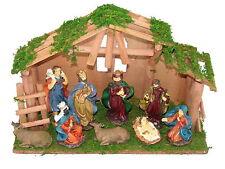 Weihnachtskrippe 10 teilig Krippenstall Holz Krippe Figuren Bethlehem Heilige