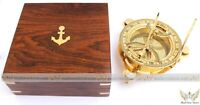 """VINTAGE MARITIME DECORATIVE WEST LONDON BRASS 4"""" SUNDIAL COMPASS WITH WOODEN BOX"""