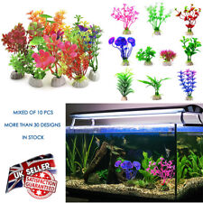 10 Mixed Artificial Green Plastic Plant Aquarium Fish Tank Grass Decoration NEW