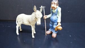 dolls house accessories resin old farmer with donkey 1.12th
