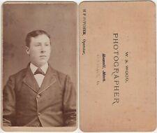 Man Antique CDV Photo Wood Photographer History Backstamp Howell MI Conneaut OH