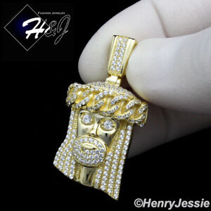 MEN WOMEN 925 STERLING SILVER ICY DIAMOND JESUS FACE GOLD CHARM PENDANT*GP167