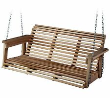 Porch Swing Patio Furniture Outdoor Bench Wood Hanging Seat Chair Sailing Hoop