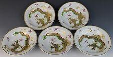 5 pc Vintage Chinese Export Golden Dragon Porcelain Dessert Sauce Bowl Set